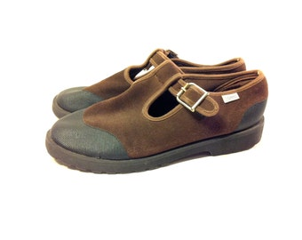 Brown Leather Mary Janes 10 - T Strap Platform Mary Janes 10