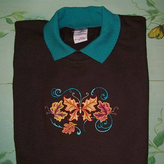 3XL Abstract Butterfly Embroidered Sweatshirt SALE