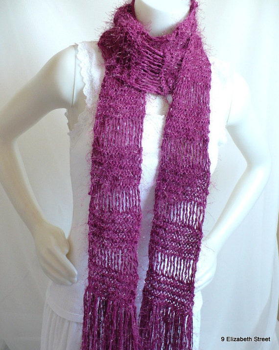 Hand Knit Magenta Fashion Scarf, extra long rocker scarf with fringe, sparkly fuzzy scarf