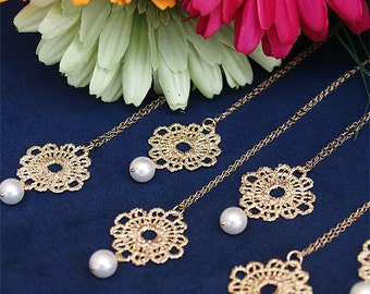 Set of 4 Bridesmaid Necklaces - Lace and Pearl- Swarovski Pearl on 14K Gold Filled Chain - Bridesmaids Set