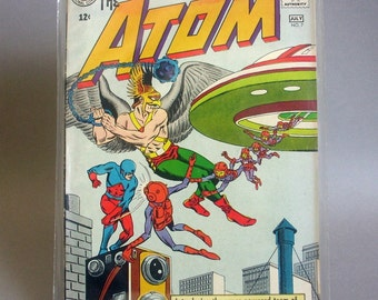 """Vintage Comic Book, The Atom No. 7, """"Case of the Cosmic Camera"""", Featuring Hawkman, July 1963, DC Comics"""