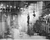 Extra large wall art, Black and white photography, abstract oversized art, silver surreal Night lights, St Petersburg cityscape, 24x36 print