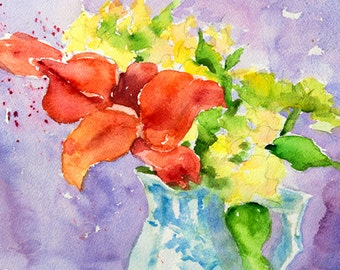 "Original watercolor flower painting bright lively colors, reds, yellows on light purple, original art, 9"" x 12"" Flowers in Vase"