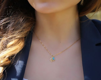 """Butterfly necklace, turquoise necklace, 14k gold filled, charm necklace, gold butterfly, everyday jewelry, """"Nephele"""" Necklace"""