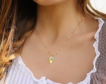"Gold leaf necklace, turquoise necklace, gold necklace, 14k gold filled, tiny necklace, simple necklace, minimalist jewelry, ""Halia"" Necklace"