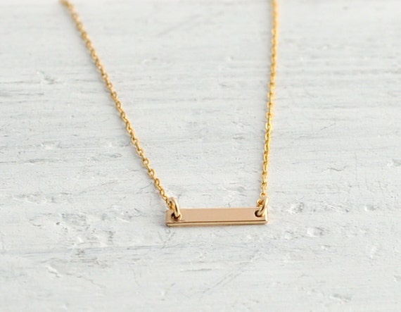 Small gold bar necklace - minimal necklace - petite necklace - tiny bar necklace - dainty necklace - horizontal bar necklace - Gold Dash