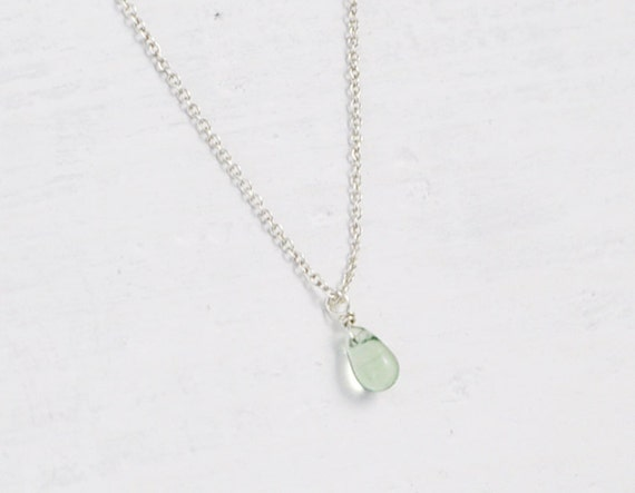 Dewdrop pale green necklace - tiny teardrop sterling silver chain - delicate jewelry  gift for her