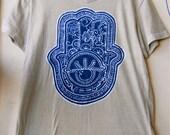 Hamsa Batik yoga T Shirt V neck short sleeved men Hand painted Tan