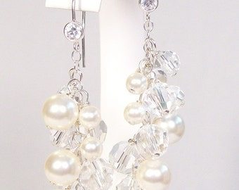 Cream & Crystal Bridal Earrings, Full CZ French Hooks, Chandelier Pearl Crystal Earrings, ivory, clear, off white, soft ivory, diamond white