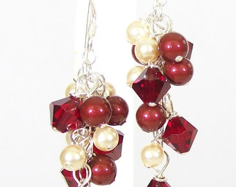 Marsala Cranberry & Gold Chandelier Bridesmaid Earrings, Cranberry Weddings, Champagne apple, merlot, bordeaux, burgundy, cherry