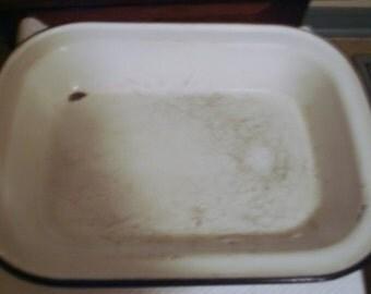 Kitchen - White Porcelain/Enamel -Oblong- Roasting- Baking Pan - w. Black Enamel Trim - Well Used -1930-40