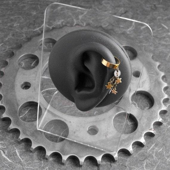 Steampunk Stars Golden Ear Cuff - Mechanics of Falling Stars by COGnitive Creations