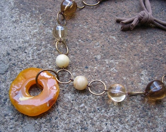 Eco-Friendly T Shirt Yarn Statement Necklace -Talisman - Recycled Vintage Beads in Butterscotch, Tan and Light and Dark Topaz