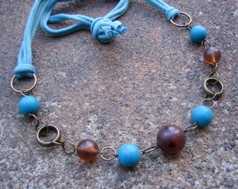 Eco-Friendly T Shirt Yarn Necklace - Sanctuary - Recycled T Shirt Yarn and Vintage Beads in Earth Brown and Sky Blue