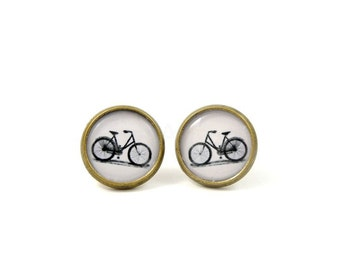 Bicycle Stud Earrings,Retro Earrings,Bicycle Jewelry,Black White Earring Studs,Retro Jewelry,Bike Jewelry (E177)