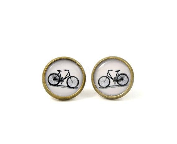 Bicycle Stud Earrings,Retro Earrings,Bicycle Jewelry,Black White Earring Studs,Retro Jewelry,Bike Jewelry (E177)