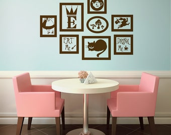 Elegant Alice In Wonderland Vinyl Wall Decal Frames Kit With Customized Initial Part 15