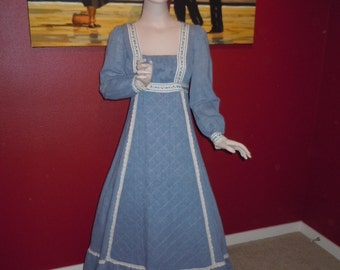"Vintage 70's Maxi Long Dress Hippie Style - Blue Gauze with Embroidered Flowered Trim Bust 34""."