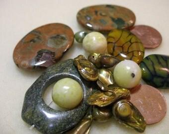 BIG Earthy Semiprecious Stone Bead Mix -  yellow - green - brown  --  paganteam, Team ESST,  OlympiaEtsy, WWWG