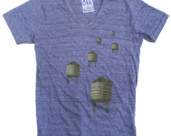 V-Neck T-Shirt - NYC Water Towers in Blue Heather for Men and Women