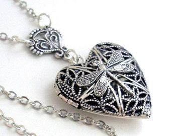 Silver Dragonfly Heart Scent Locket Filigree Jewelry Jewellery Necklace - by Gypsy Trading Company