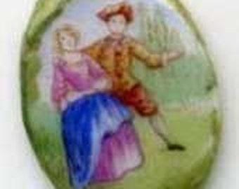 VINTAGE PORCELAIN - MARQUESS couple -Victorian Oval Miniature painted- to be set on a Pendant or a Ring- very good condition - Free Shipping