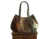 "purse zipper close : Large Hobo - paisley fabric sage, olive green, gold, brown winter fashion - ""IRISH GOLD"" handmade"