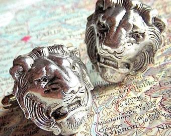 Men's Cufflinks Silver Lion Cufflinks Vintage Inspired BIG & BOLD Gothic Victorian Safari Animal Statement Cufflinks Handcrafted Men's Gifts