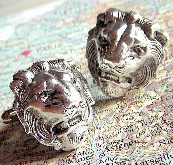 Men's Cufflinks Silver Lion Cufflinks Vintage Inspired BIG & BOLD Gothic Victorian Safari Animal Statement Cufflinks Handcrafted Men's Gifts