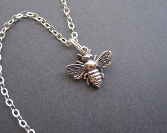 Sterling Silver Bee Necklace - Silver Bee Charm - Minimal Sterling Silver Necklace - Modern - Everyday - Bee Lover Gift - Spring Necklace