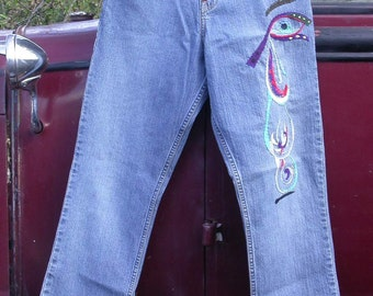 Patched Embroidered, Levi Strauss Signature, Resurrected Jeans, Woe Is Me, blue denim pants, festival, boho