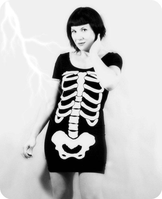 RSERVED for Jen - Skeleton Mini Dress - CUSTOM