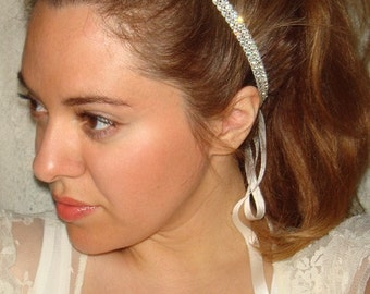 Rhinestone Headband, Bridal Headband, Weddings- JEWEL, Headband, Wedding Headpiece, Accessories, Wedding,  Tie on Headband