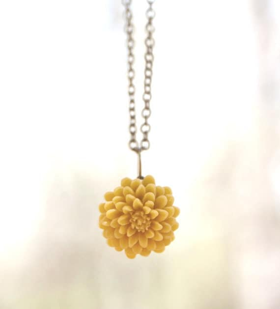 Mustard Yellow Chrysanthemum Flower Necklace // Bridesmaid Gifts // Bridesmaid Necklace