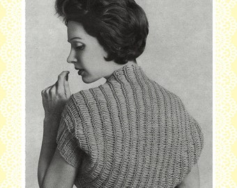 Knitted shrug or shoulderette Vintage PDF pattern from 1950s Easy to Make