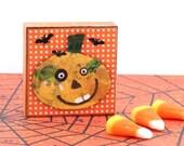 Jack O Lantern Magnet - Smiling Halloween Pumpkin Magnet - Polka Dotted Halloween Magnetic ART