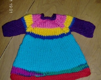 waldorf wool dress for 12 inch doll of multi colors
