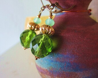 Emerald City Earrings -One-of-a-Kind- Vintage & New Crystals w Gold Accents and Bronze Leverback Ear Wires / Proceeds Aid Kids' Pain Clinic