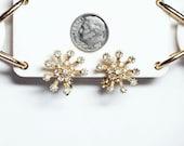 Vintage Rhinestone Star Burst Clip Earrings