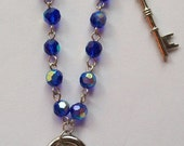 Key To My Heart - Key and Lock Charms with Royal Blue AB Beads