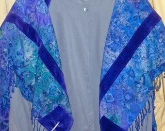 Tallit, Custom Specialty Judaic Art  (Deposit) : Intricately Detailed Tie-dye/ Shibori with Solid Silk or Velvet Stripes.