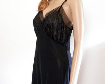 Vintage 1950s Black Slip Van Raalte Embroidered Sheer Chiffon Lingerie / Small