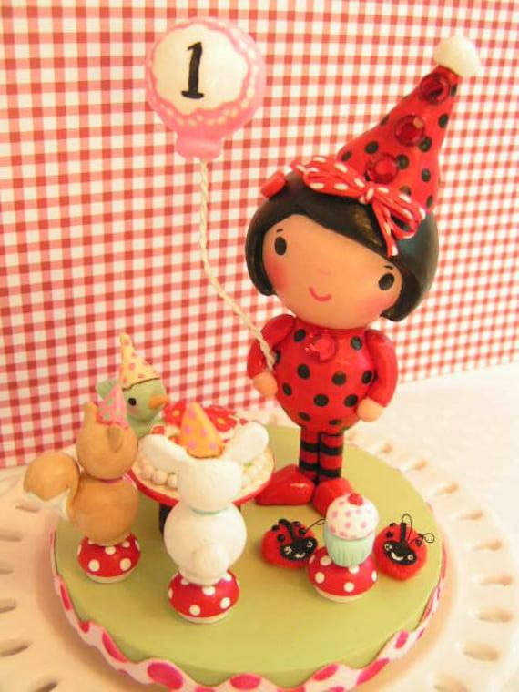 Made To Order  Ladybug CakeTopper Birthday Gift Toddler Little Girl  Baby's 1ST- Smash Cake -Baby Shower Personalized Keepsake Hand Painted