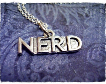 Silver Nerd Necklace - Sterling Silver Nerd Charm on a Delicate Sterling Silver Cable Chain or Charm Only