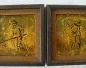 MID CENTURY Orginal Art -  2 Pictures Farmer & Wife Rustic Framed Ink Foil Drawings Art Primitive Farmer And Wife Drawings 1 of A Kind Art