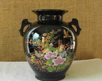 MID CENTURY Japan Hand Painted Vase Jardiniere Urn Style Jardine Shaddy Japan Hand Painted Bird Scene Beautiful Japan Art Pottery Ceramic
