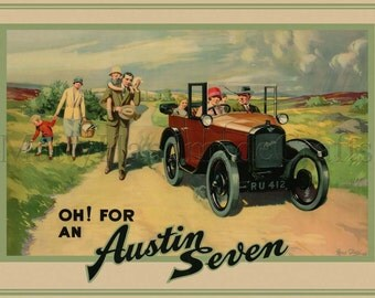 Austin Seven, Vintage Illustration 1930s Print from an Original Advertising Poster
