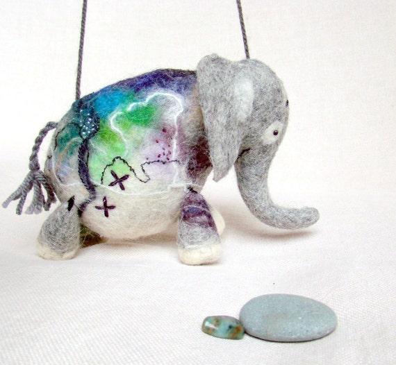 Anthonio - Felt Elephant. Handmade Puppet, Art Marionette, Felted Animal, Stuffed Toy. grey blue purple green spring fresh. MADE TO ORDER