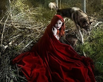 Red Velvet Cape Hooded Cloak Riding Hood cloak with train very long
