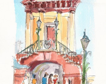 Walking through Old City Market, Charleston, South Carolina. Original watercolor sketch.